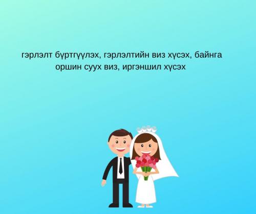 Гэрлэлтийн вич хүсэх байнга оршин суух виз иргэншил хүсэх